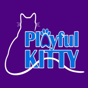 Playful Kitty Logo with Purple Background